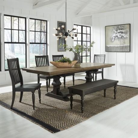 Harvest Home 6 Piece Trestle Table Set